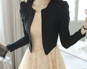 jacket,black blazer and cream colored dress with lace,coat,dress,lace,blazer,black,pretty,party,job outfit,cute,semi formal,tumblr,white dress,cardigan,flowers,dentelle,short,lace dress,cream dress,black cardigan,cute dress,date outfit,robe blanche,pink,pink dress,beige,exactly this dress please,elegant,elegant dress,beige dress,black jacket,leather jacket,white pastel
