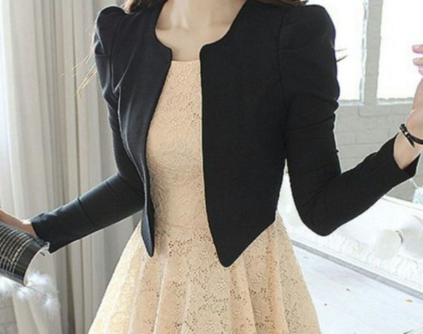 jacket black blazer and cream colored dress with lace coat dress lace blazer black pretty party job outfit cute semi formal tumblr white dress cardigan flowers dentelle short lace dress cream dress black cardigan dress cute dress date outfit robe blanche pink pink dress beige exactly this dress please elegant elegant dress beige dress black jacket leather jacket white pastel