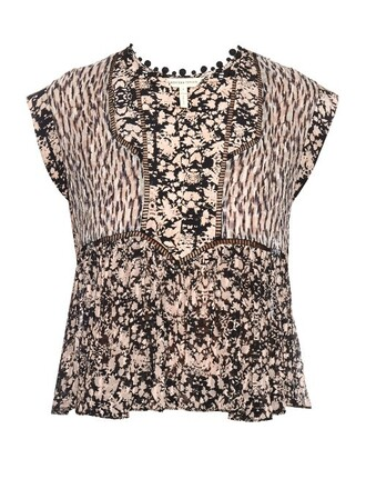 top floral print silk black