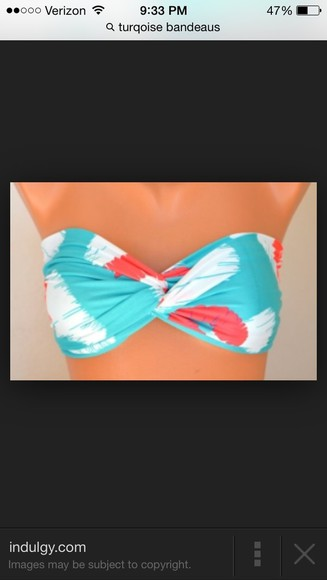 swimwear bandeau turquoise