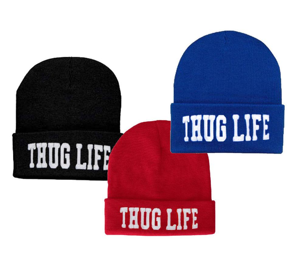 Thug Life Beanie Hip Hop Knit Hat Stitched Rihanna Dre Drake Pusha T Tupac | eBay
