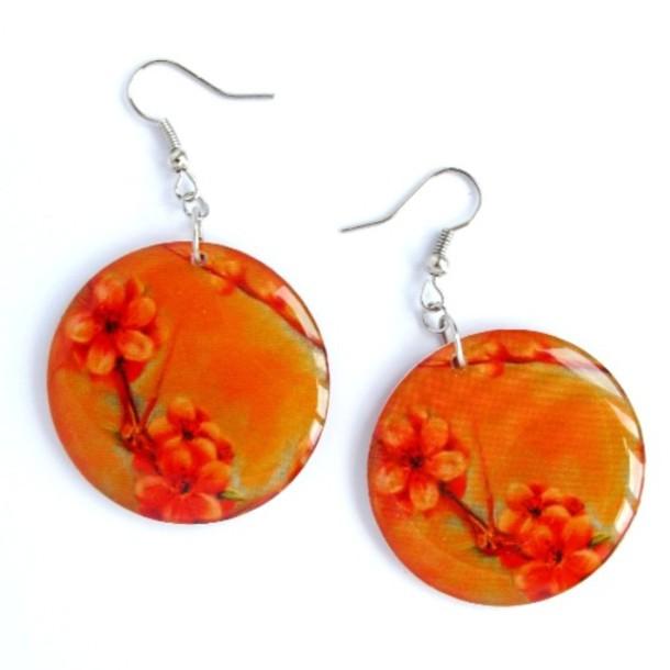 jewels ziz earrings ziz disc earrings flowers orange