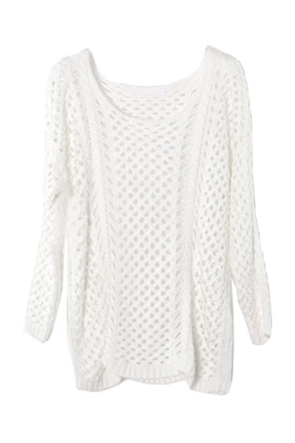 Hollow scoop neck white jumper : thatspoint.com
