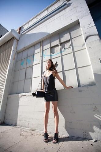 fashiontoast blogger tank top skirt bag black tank top leather skirt mini skirt