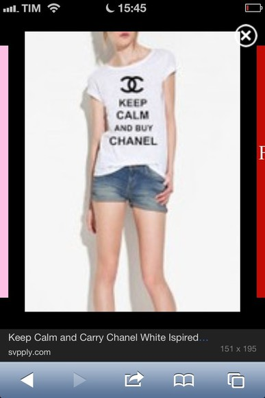 shirt chanel tshirts chanel tshirt vogue keep calm and love chanel keep calm