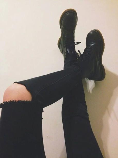 jeans blavk noir grunge ripped jeans