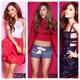 shorts ariana grande sexy red sweater blouse lace dress black pink shirt
