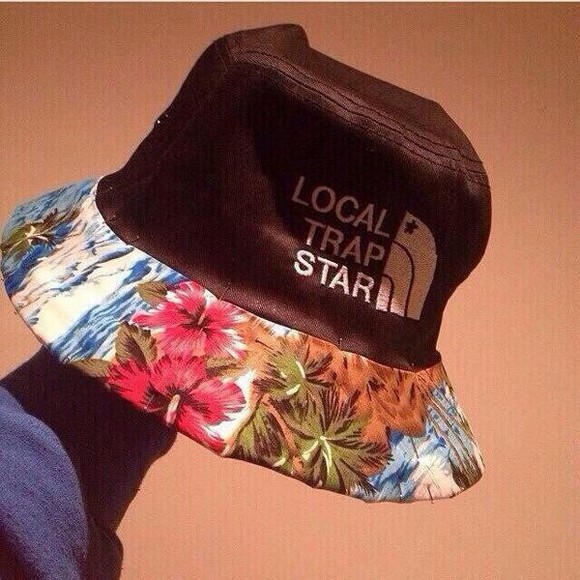 star hat black north face blue tumblr rihanna trap flowers bucket cute cute hat floral hat bucket hat trapstar floral fisherman hat fisherman local trap star