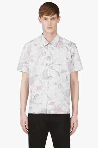 cosmic clothes print shirt blue light jazz menswear button downs