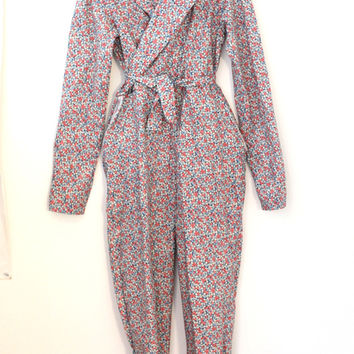 Floral Jumpsuit With Waist Tie on Wanelo