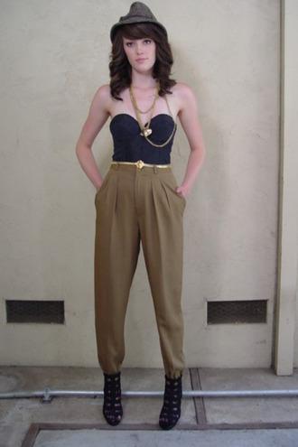 pants khaki vintage high waisted pants pockets vintage pants online