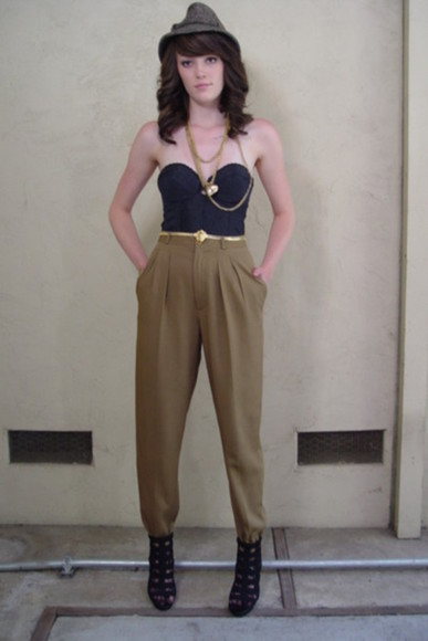 pants khaki high waisted pants vintage pockets vintage pants online