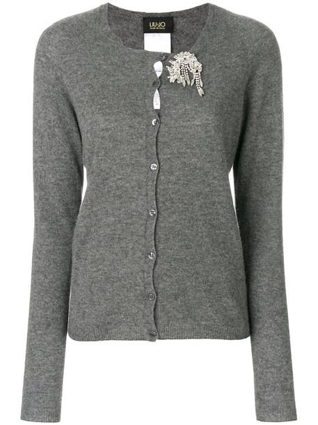 LIU JO cardigan cardigan women embellished wool grey sweater