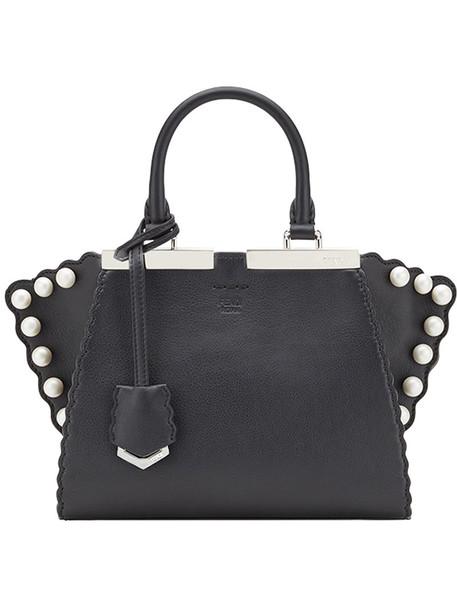 Fendi studded women pearl abs leather black bag