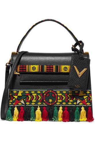 embellished leather black bag