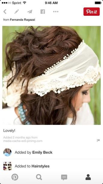 hair accessory white boho headband scarf