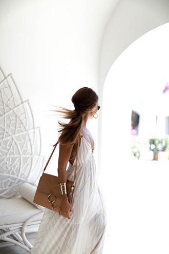 b a r t a b a c blogger jewels bag white dress summer dress shoulder bag maxi dress dress v neck v neck dress plunge v neck chloe faye bag chloe chloe bag cuff bracelet