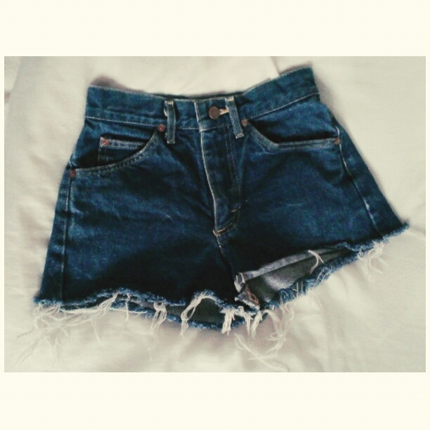 Lee Rider Dark Wash Blue High Waisted Distressed Denim Shorts