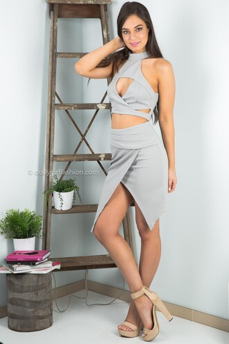 skirt dolly girl fashion wrapped skirt wrap skirt grey skirt clubbing skirt clubwear two-piece