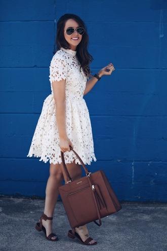 fashionably kay blogger dress bag shoes lace dress brown bag handbag white lace dress sandals