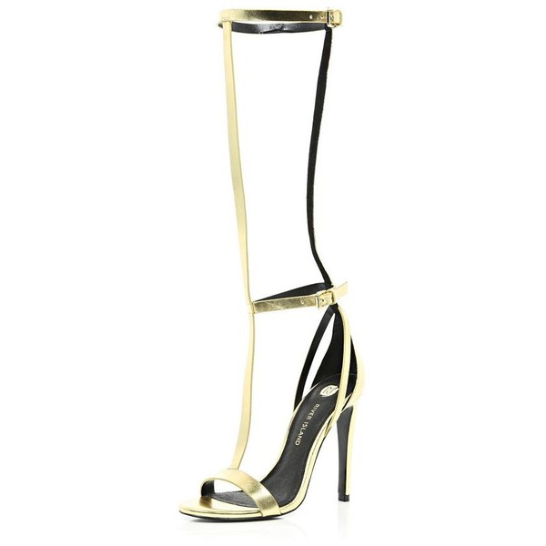 River Island Gold high leg T bar barely there sandals
