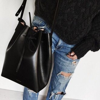 earphones bag black fashion vibe noeud fringed bag bagsq handbags jeans pullover accessories accessory girl