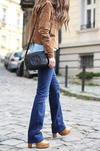 fashion and style blogger jeans suede jacket gucci bag thick heel flare jeans 70s style