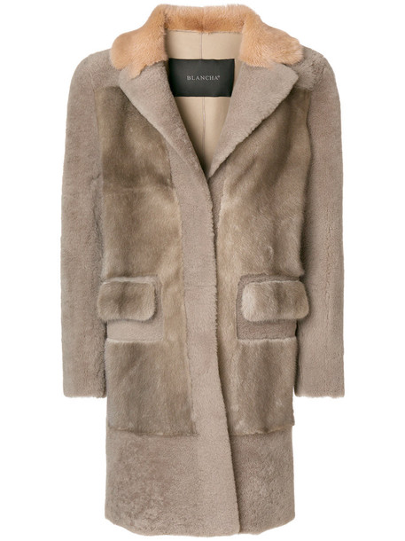 BLANCHA coat fur coat fur women fit cotton grey