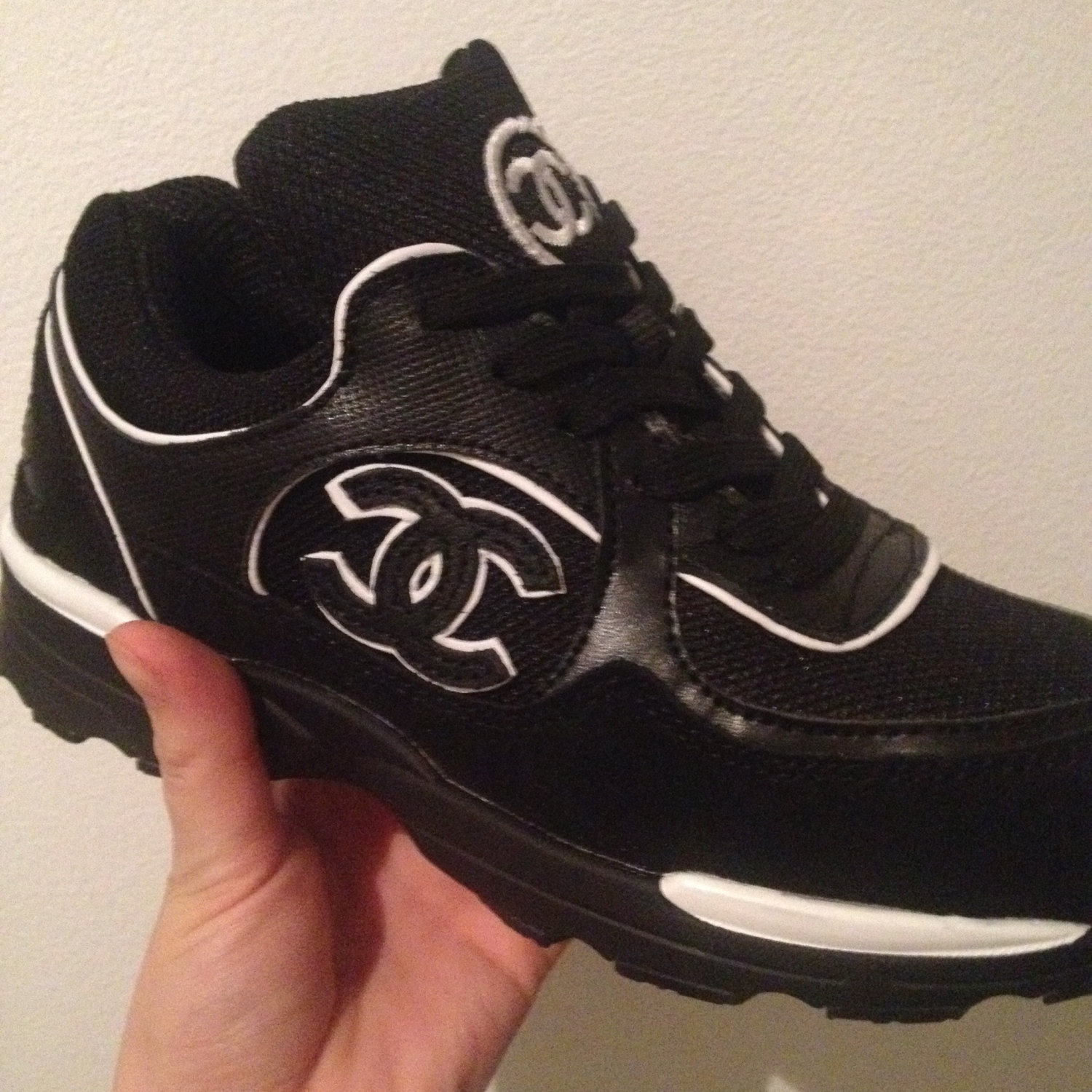 chanel black tennis running sneakers shoes