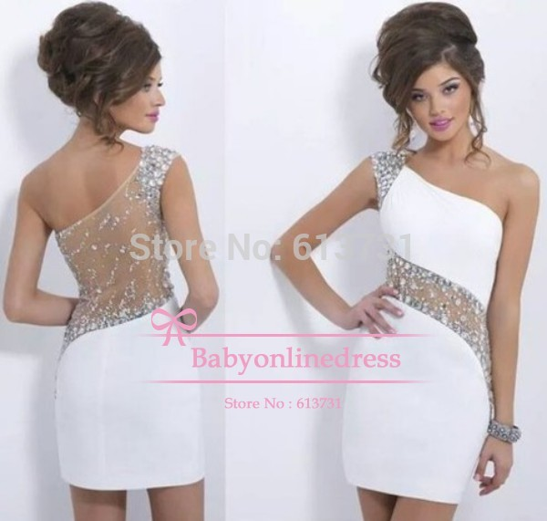 Aliexpress.com : buy 2014 hot sale summer sexy one shoulder white crystal beaded short mini homecoming dresses graduation party cocktail dresses from reliable dress up games for weddings and proms suppliers on suzhou babyonline dress store