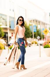 cute & little,blogger,top,sweater,tank top,jeans,belt,shoes,bag,sunglasses,embroidered jeans,gucci bag,fall outfits