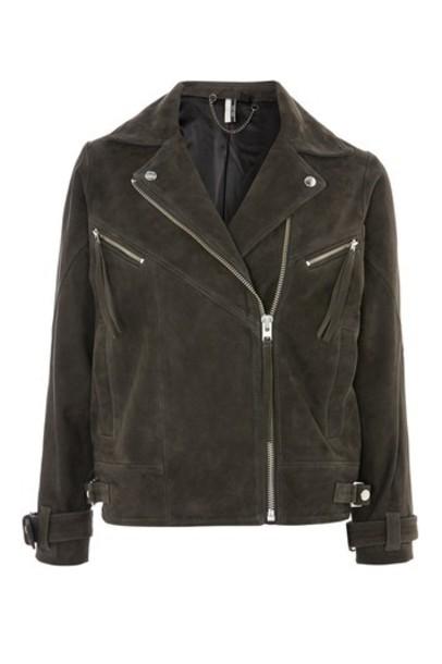 Topshop jacket biker jacket suede grey