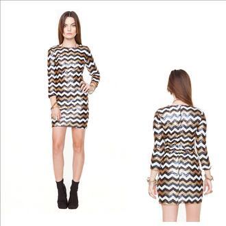 sequins sequin dress party dress long sleeves chevron mini dress chevron dresses