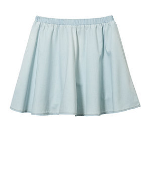 Teens Light Blue Denim Skater Skirt on Wanelo