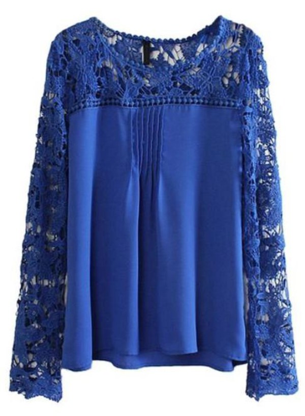 top navy top floral crochet chiffon top blue chiffon long sleeves www.ustrendy.com