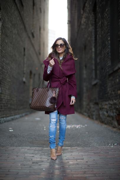 maria vizuete mia mia mine blogger coat brown bag oxblood