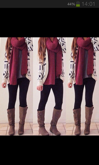scarf red scalf jacket cardigan boots jeans girl nail polish sweater shoes
