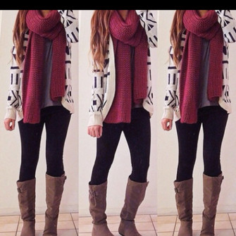 cardigan sweater girl boots jacket jeans scalf nail polish scarf red