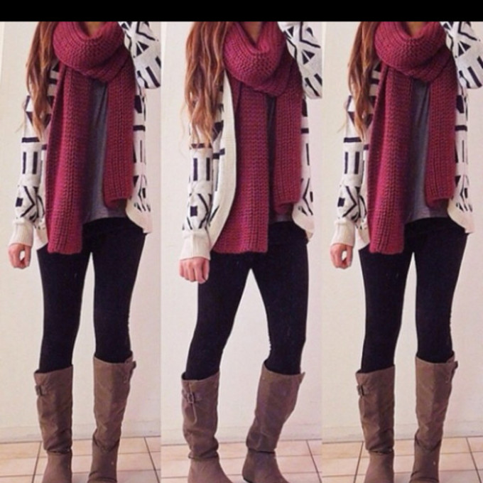 sweater scarf shoes red girl jacket jeans scalf cardigan boots nail polish scarf red