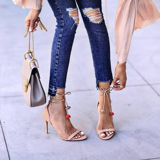 shoes tumblr sandals sandal heels high heel sandals nude sandlas jeans denim blue jeans skinny jeans ripped jeans bag nude bag