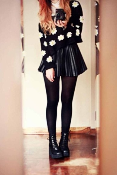 shoes skirt sweater flowers stockings black combat boots