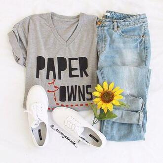 shirt paper towns light wash jeans jeans vans