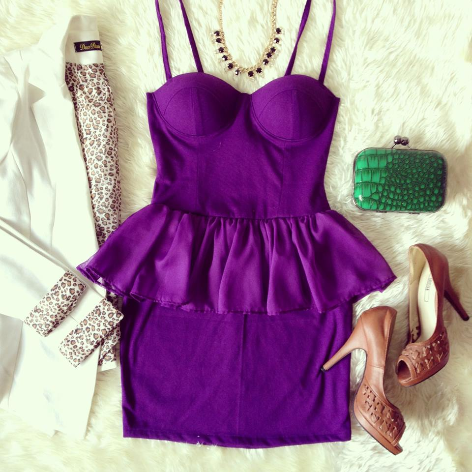 Sexy Purple Peplum Bustier Dress with Adjustable Straps - Size XS/S/M - Smoky Mountain Boutique