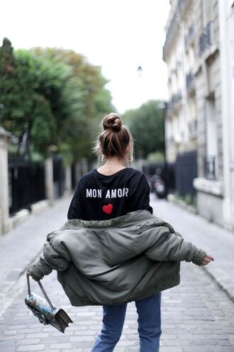 jacket black top bun tumblr bomber jacket khaki bomber jacket army green jacket top denim jeans blue jeans bag hairstyles heart love quotes