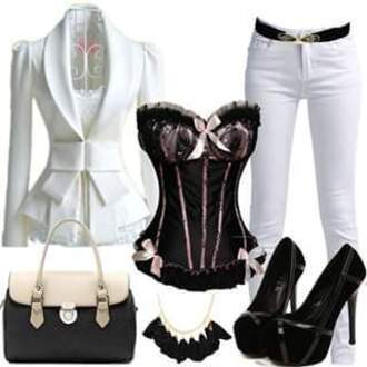 blouse black blouse black and white blouse white bow top