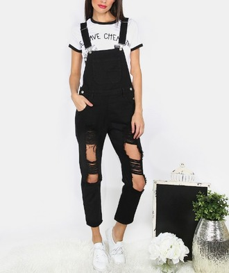 jumpsuit girl girly girly wishlist black denim ripped ripped jeans overalls denim overalls