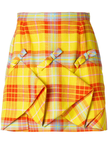 2a344104ce DELPOZO Delpozo - plaid ruched skirt - women - Cotton/Linen/Flax/Viscose -  38, Yellow/Orange, Cotton/Linen/Flax/Viscose