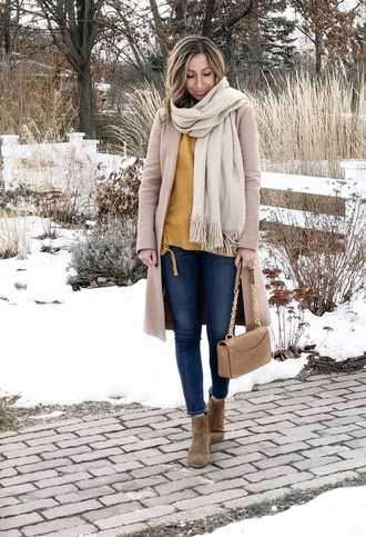 lilly style blogger coat sweater jeans shoes scarf jewels winter outfits ankle boots yellow sweater beige coat