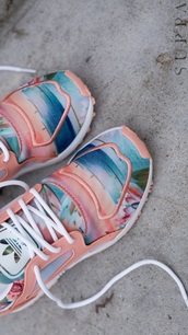 shoes,adidas,low top sneakers,pastel,multicolor,pastel sneakers,peach,tropical,beach,summer,adidas shoes,adidas originals