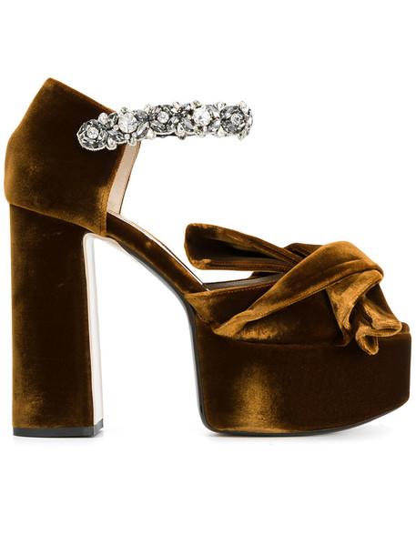 No21 bow women embellished sandals platform sandals leather cotton brown shoes